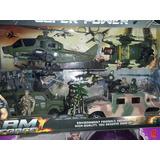 Set De Combate Force , Helicoptero , Camion Y Tanque Saldado