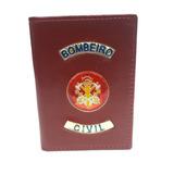 Carteira Bombeiro Civil Porta Funcional - Vermelha - Couro