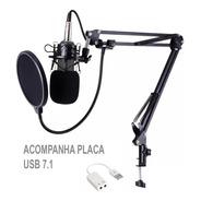 Kit Completo Microfone Condensador Bm800 Preto Aranha Metal