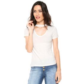 Blusa Camiseta Gola Alta Decote Choker Coleira Manga Curta