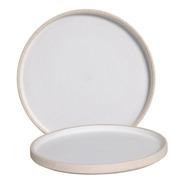 Prato Linha Terra Branco De Cerâmica Grande
