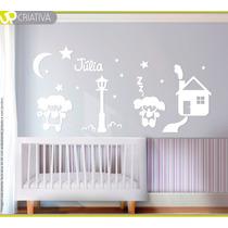 Kit Decoração Boneca Quarto Bebê Em Mdf Pintado