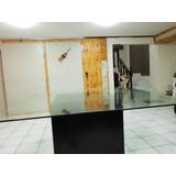 Mesa Comedor De Lujo Cristal Base Madera 1.80m 12mm Remate