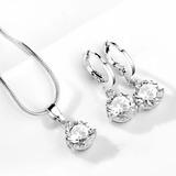 Set Conjunto Collar Aros Swarovski Elements Cristal Rosa Neg