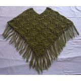 Ponchos P/ Dama Tejidos A Crochet En Lana Alpaca 04 Colores