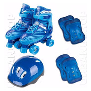 Patins 4 Rodas Clássico Azul Retrô Roller Skate + Acessórios