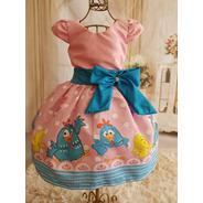 Vestido Galinha Pintadinha Rosa Luxo Temático