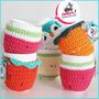 Taza Cerámica Con Funda Tejida A Crochet En Hilo De Algodón