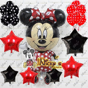 52 Globos Minnie Mouse Roja Polka Dots Latex Estrellas Globo