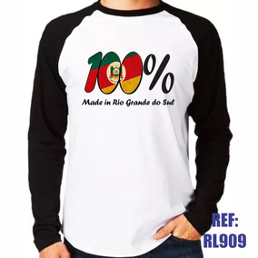 Camisa Raglan Manga Longa 100% Made In Rio Grande Do Sul