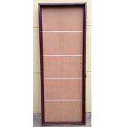 Puerta Placa Cedro Insertos Aluminio Marco Chapa 18  80x200
