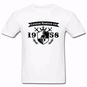 Camiseta Masculina Lendas Nascem Em 1958 2018 100% Algodão