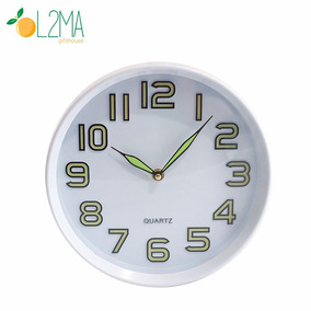 Relógio De Parede Que Brilha No Escuro Fluorescente 25cm
