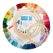 Kit De Iniciación De Bordado, 100 Hilos De Color, 5 Aros De