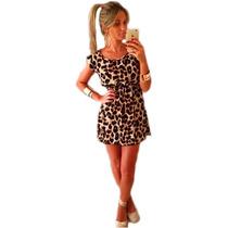 Mini Vestido Basico Casual De Malha Leve Animal Print Evase