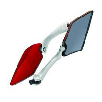 Espejos Dise¿o Futurista Motos Y Motonetas (rojo Con Plata)