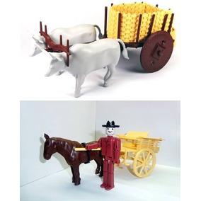 Kit Carro De Boi E Carroça Com Cavalo Boneco Maquete Fazenda