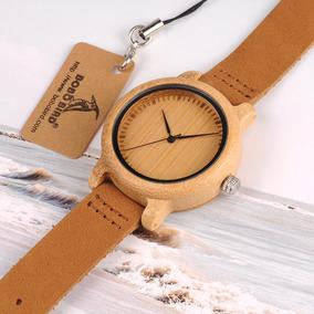 Reloj Dama Madera De Bambu,pulsera De Cuero Bobo Bird