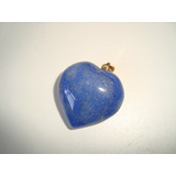 Pingente Coração Metal Dourado Pedra Quartzo Azul Polido P