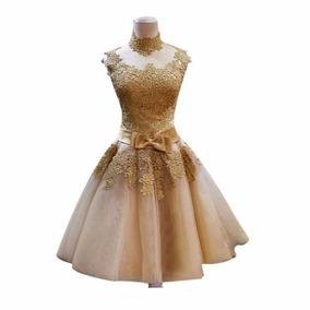 Vestido Noiva Curto Dourado Renda Debutante Festa Luxo