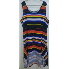 Vestido Dama Extra 3x Asimetrico Rayas Colores Spandex