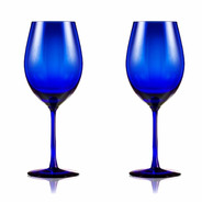 Set 2 Copones De Cristal Azul Caja Regalo Belgrano
