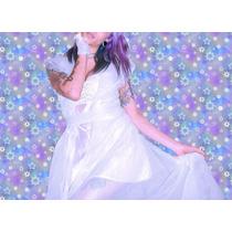 Vestido Tapado De Encaje Celeste Lunares Princesa Fantasia