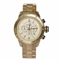 Relógio Fossil Bq1049 Dourado Unissex Grande Novo Original