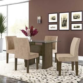 Mesa De Jantar Europa 1,20m C 4 Cadeiras Tampo Vidro 10mm