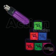 Lâmpada Negra Efeito Neon + Tinta Neon 6 Cores E Pincel