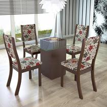 Sala De Jantar 4 Cadeiras Viero Via (c/ Tampo) Choco/passion