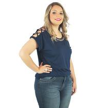 Blusa Jany Tricê Em Malha Roupa Para Gordinha Plus Size