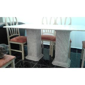 Mesa De Mármore + 6 Cadeiras + Rack Novinho De Brinde