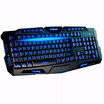 Teclado Gamer Luminoso Led Neon Jogo Usb Com Fio Abnt2 Black
