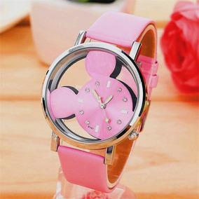 Reloj Pulsera Disney Mickey Mouse Rosa Mujer Envío Gratis