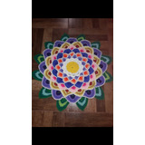 Tapete Mandala Hecho Al Crochet De Lana