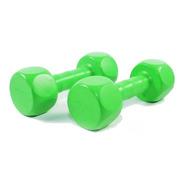 Mancuernas 2 Kg Plastica Pesa Hexagonal Pvc Color Verde