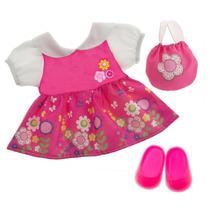 Roupa Baby Alive Kit Vestido Flores Bolsa E Sapato Tam P