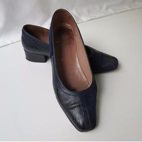 Zapato Dama Laura First Cuero Y Gamuza Color Azul No. 38
