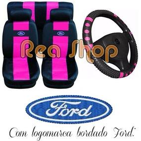 Corcel 2 Capa Para Banco De Carro Ford + Capa Volante Preto