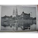 Grabado Antiguo 1910 Juan De Dios Peza Y El Lago De Chapala