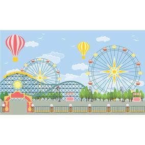Painel Festa 300x170 Parque De Diversões Nuvens E Balões
