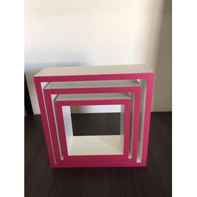 Kit 3 Nichos Mdf Branco Borda Pink Quarto Do Bebe