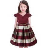 Vestido De Niñas Fiestas Invierno Elegante Navidad Talla4-10