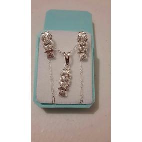Collar De Buho De Cristales Swarovski Y Aretes Plata