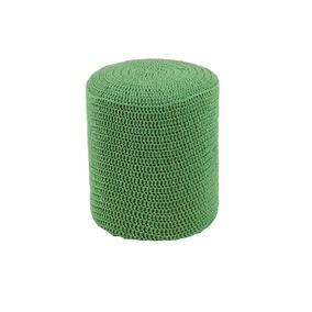 Puff Round Crochê Madeira Verde