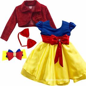 Vestido Princesa Branca De Neve Infantil Com Bolero E Tiaras