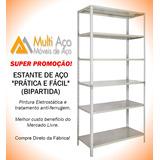 Estante Aço Bipartida, Cinza 40cm Prática & Fácil C/06 Prat.