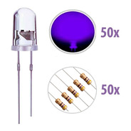 50 X Led Ultravioleta Uv 5mm Alto Brilho + Resistor 470 12v