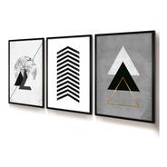 Quadro Decorativo Moldura Vidro Jogo Geométrico Triângulo